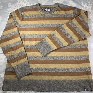 The North Face mustard, brown and grey sweater